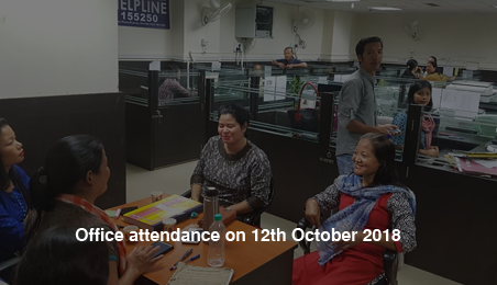 Office attendance on 12th October 2018